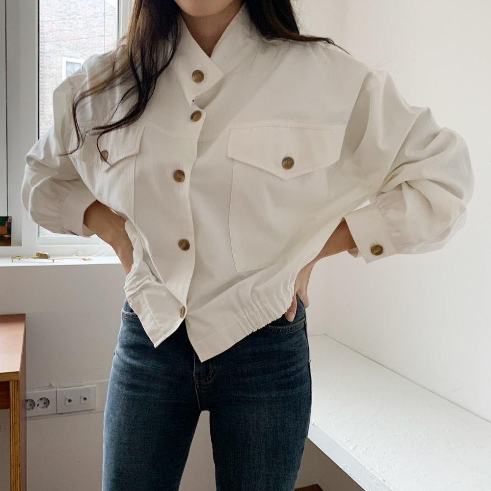 모센 여성 짧은 숏 야상자켓