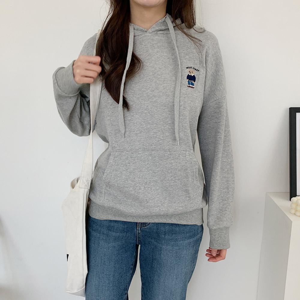 캐루 테디 캐릭터 자수 여성 후드티셔츠