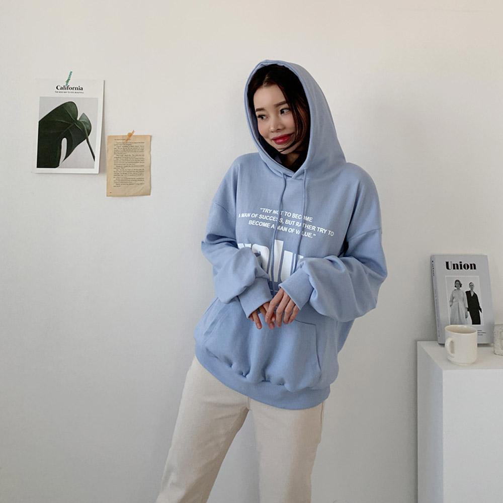 네버 러블리 겨울 포켓 후드 티셔츠