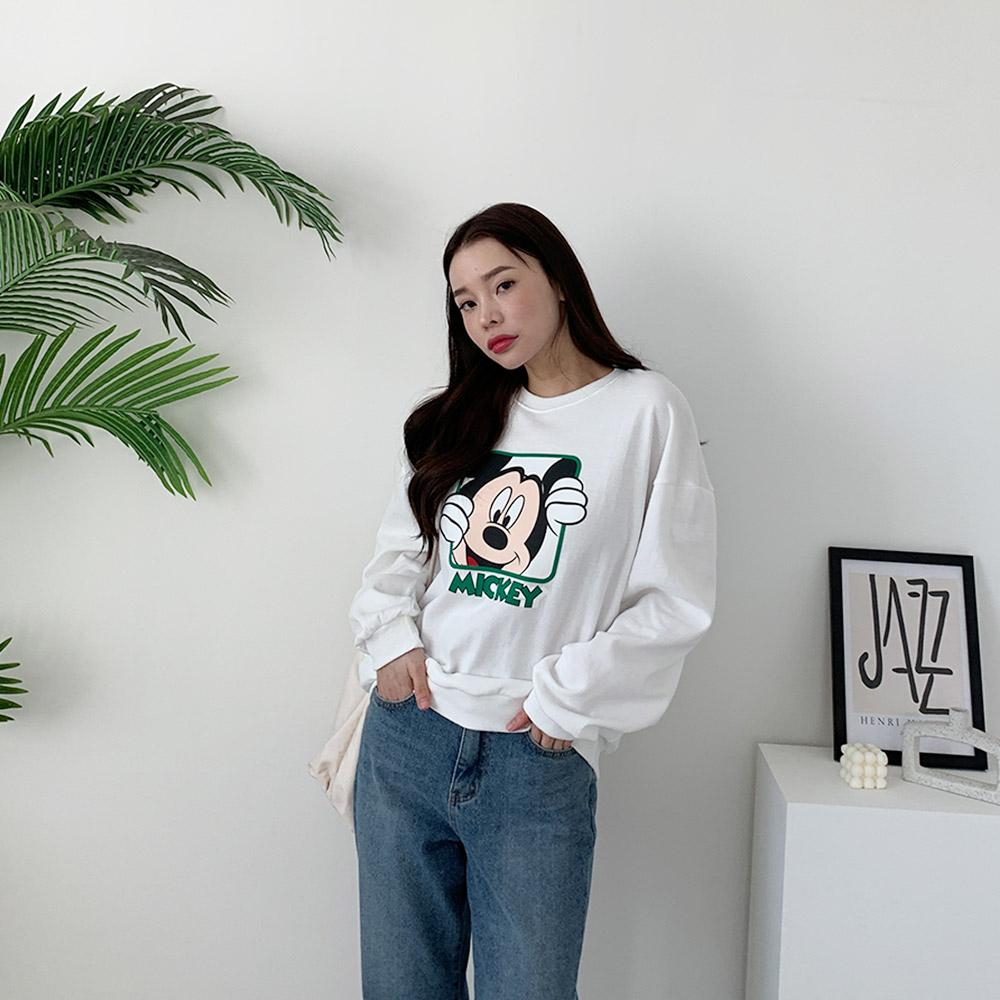 아큐 미키 캐릭터 맨투맨 티셔츠