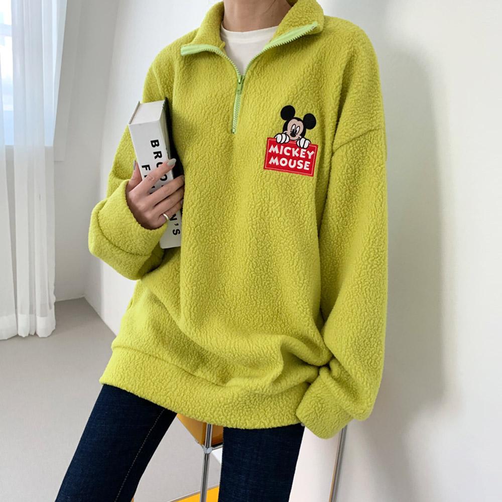 양에 디즈니정품 미키 반집업 패치 티셔츠