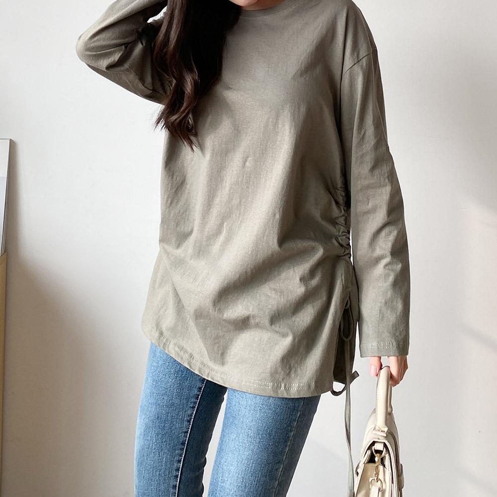 네쥬 여성 데일리 스트링 라운드 티셔츠