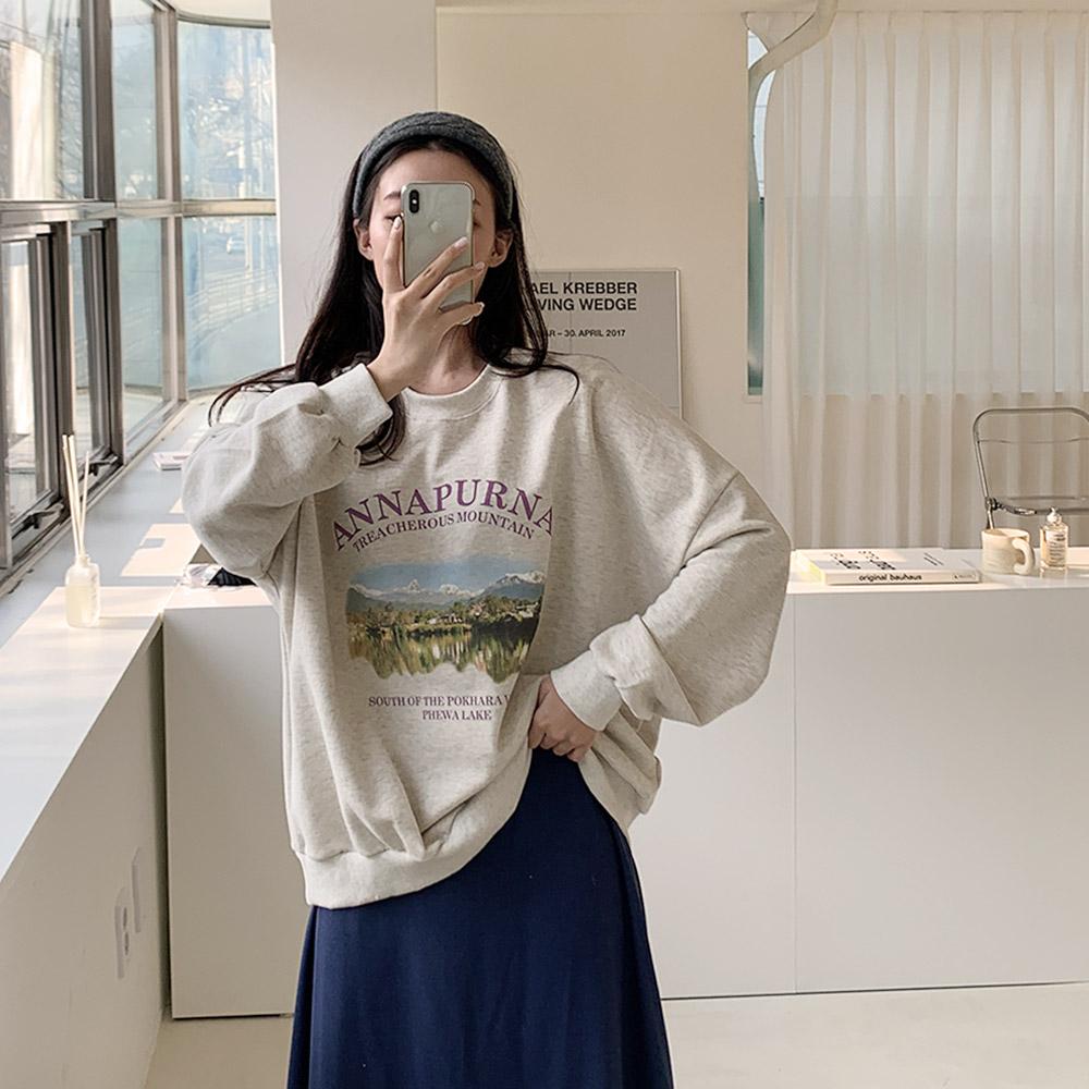 블벨 데일리 나염 영문 긴팔 티셔츠