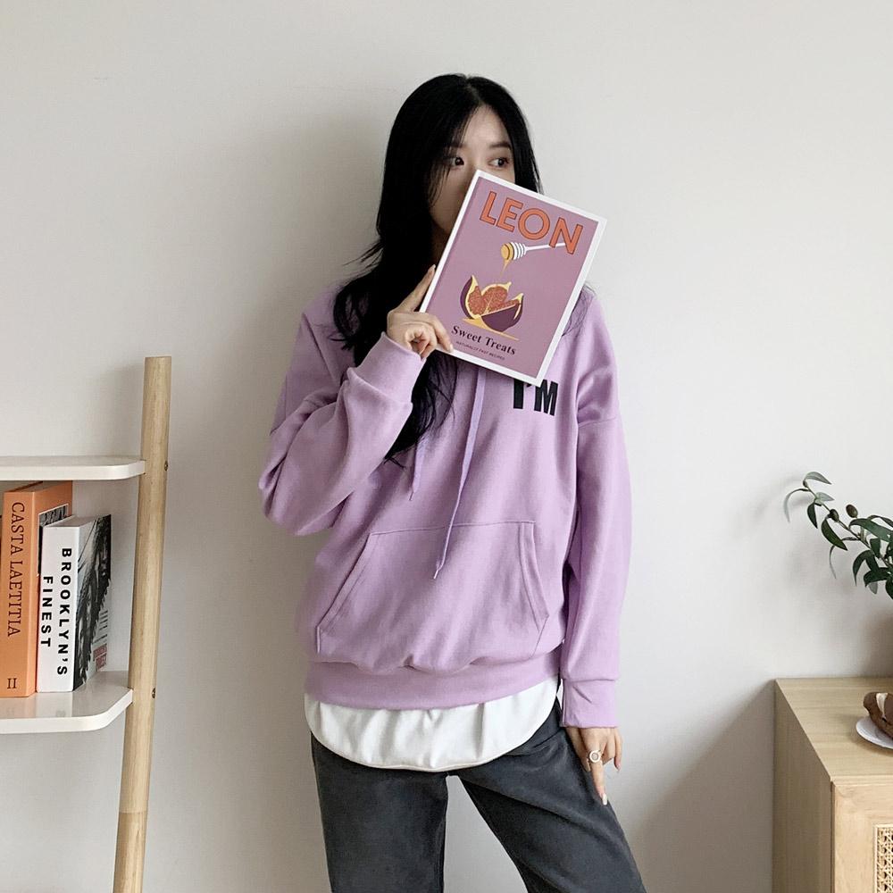 리무 영문 데일리 여성 후드티셔츠