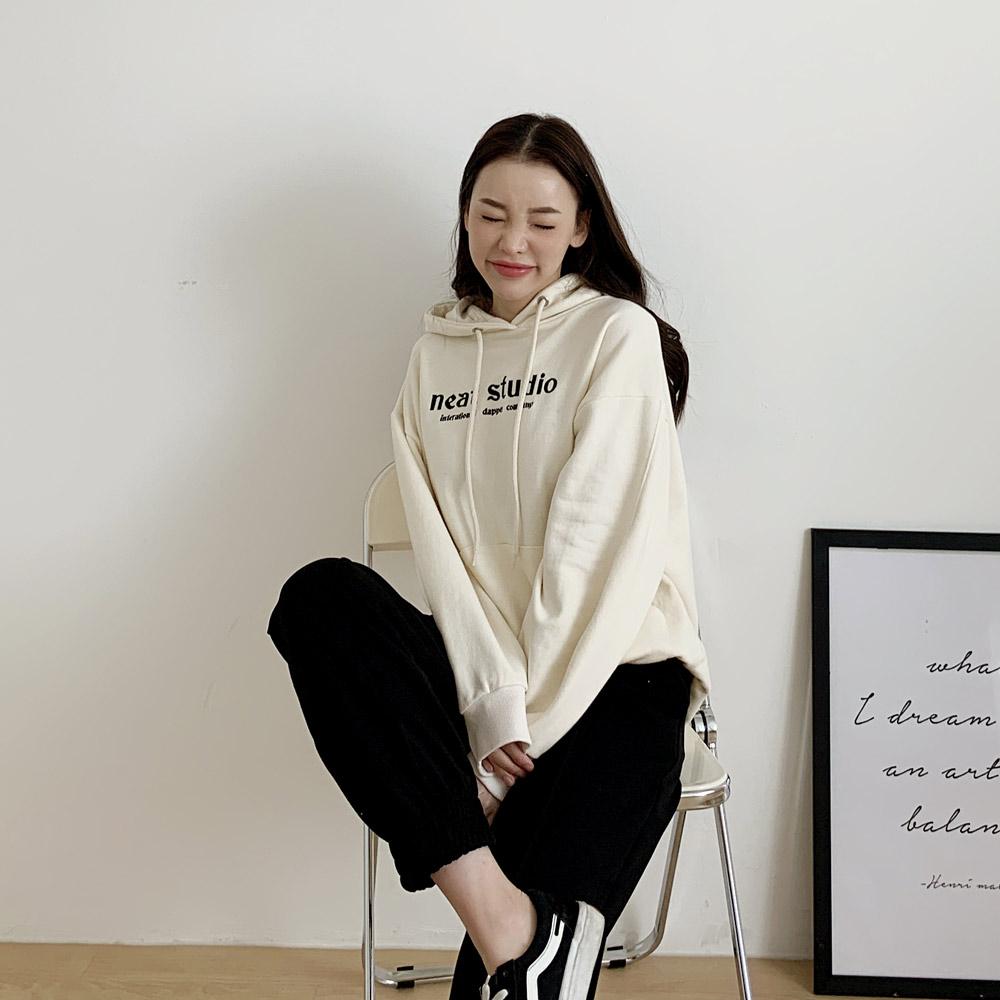 드무 자수 영문 루즈핏 여성 후드 티셔츠