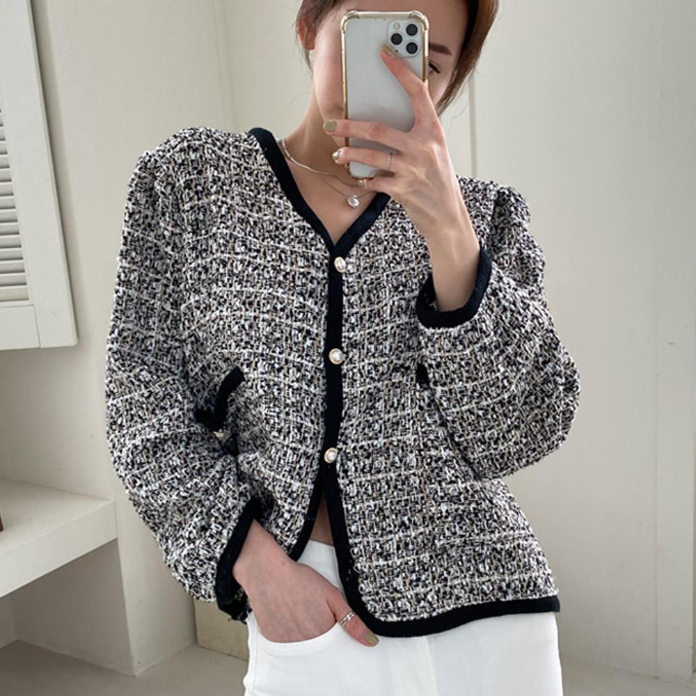 고카 여름 심플 데일리 기본 트위드 자켓