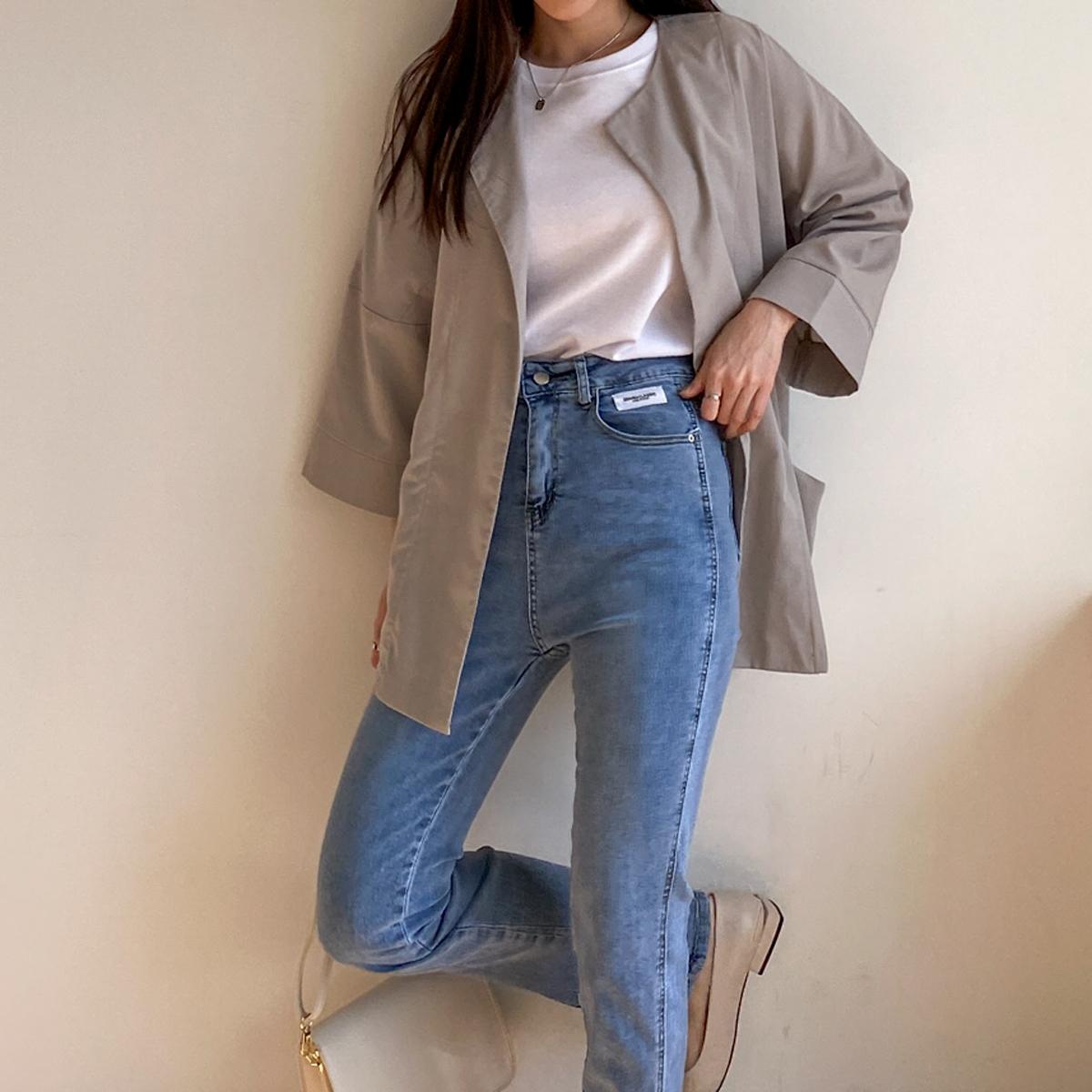 도세 가오리 여성 노카라 자켓