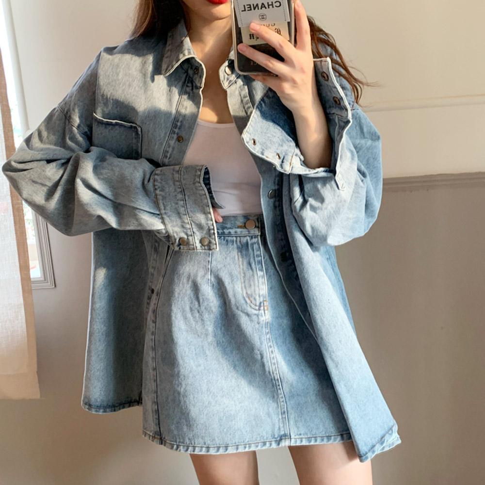 히토 여성 데일리 데님 셔츠 자켓