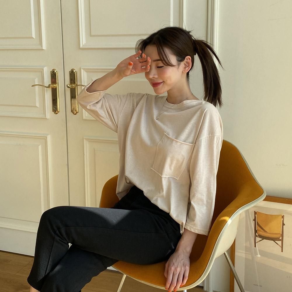 스프 라운드 포켓 여성 긴팔 티셔츠