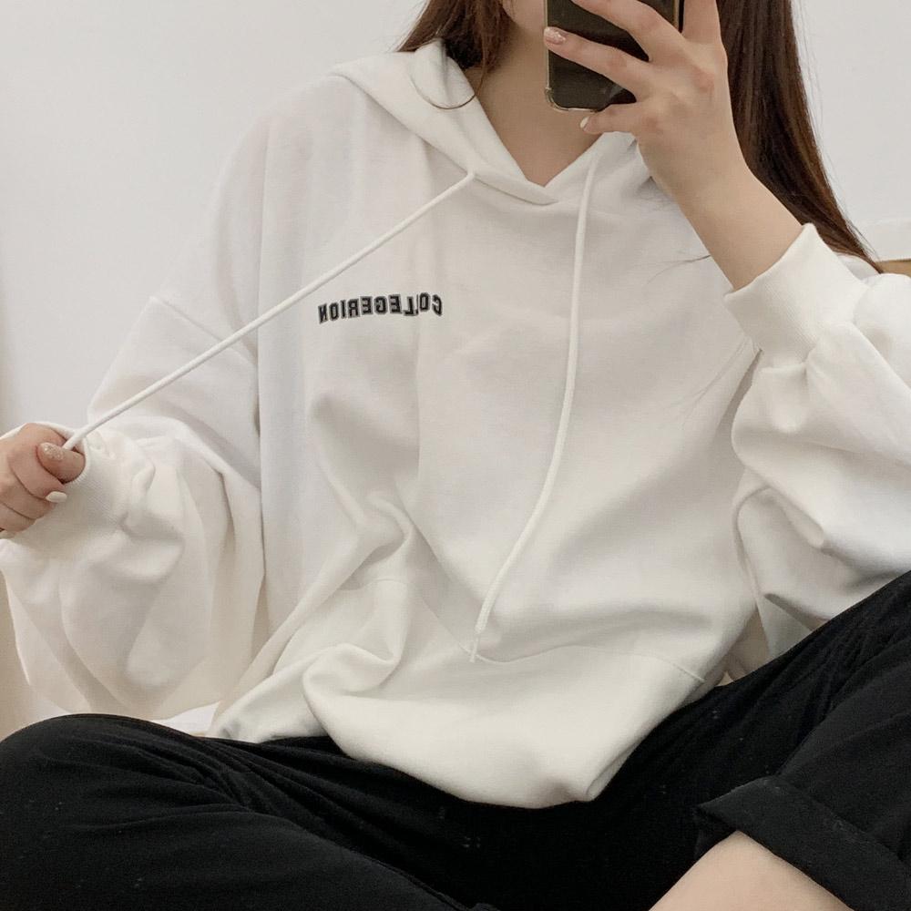 메쥬 루즈핏 박시핏 후드 레터링 티셔츠