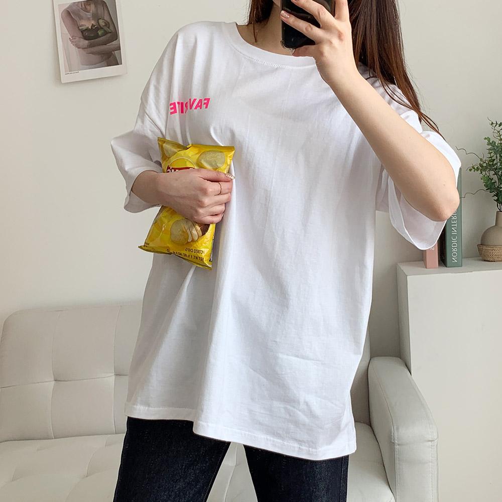 배데 라운드넥 반팔 여성 티셔츠