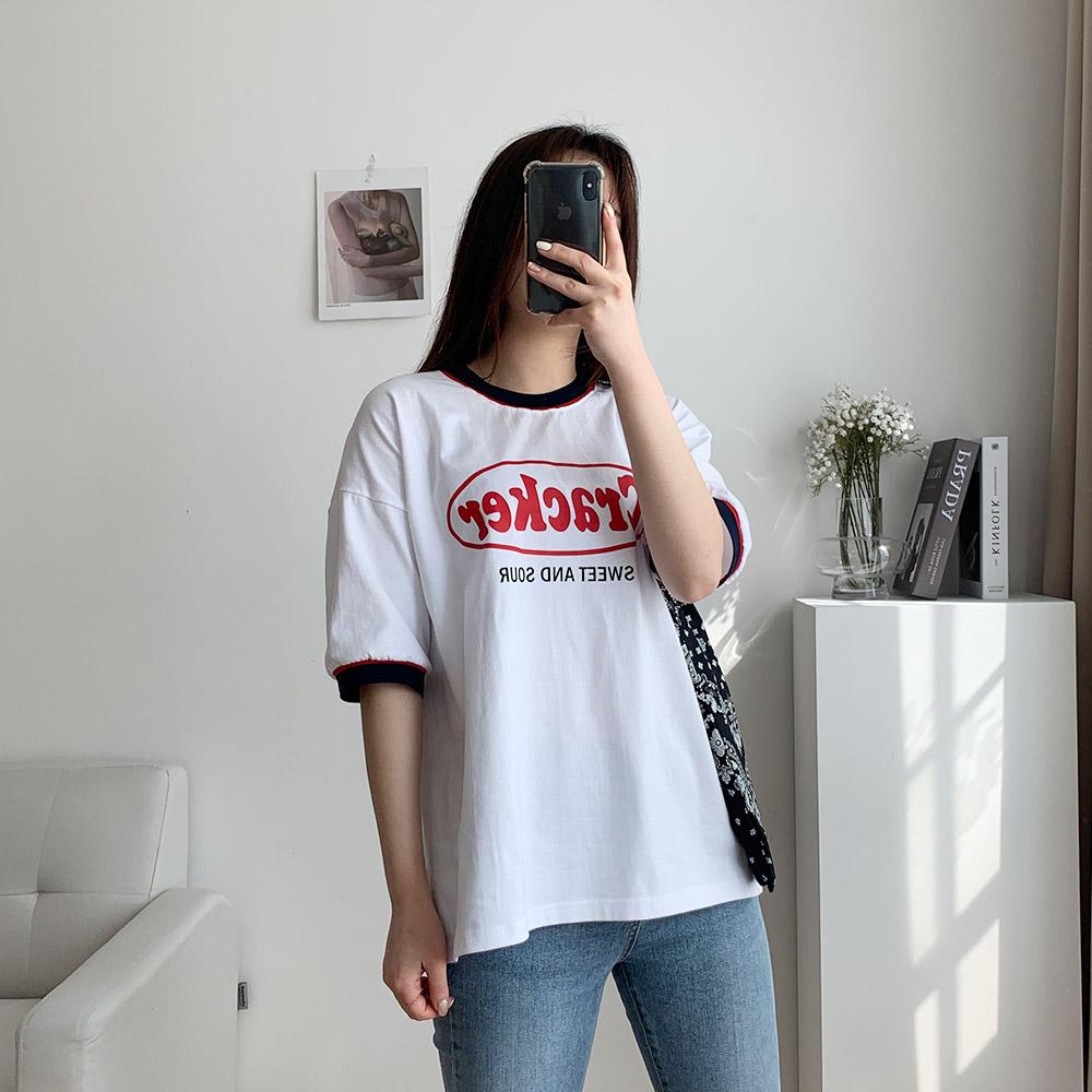 보여 라운드넥 여성 나염 기본 티셔츠