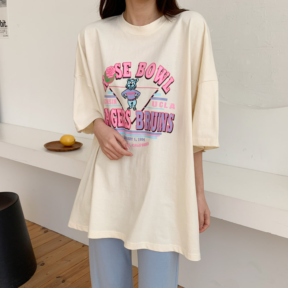 자림 베어 반팔 오버핏 프린팅 티셔츠