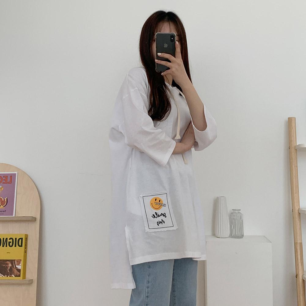 배여 여성 데일리 트임 후드 패치 티셔츠