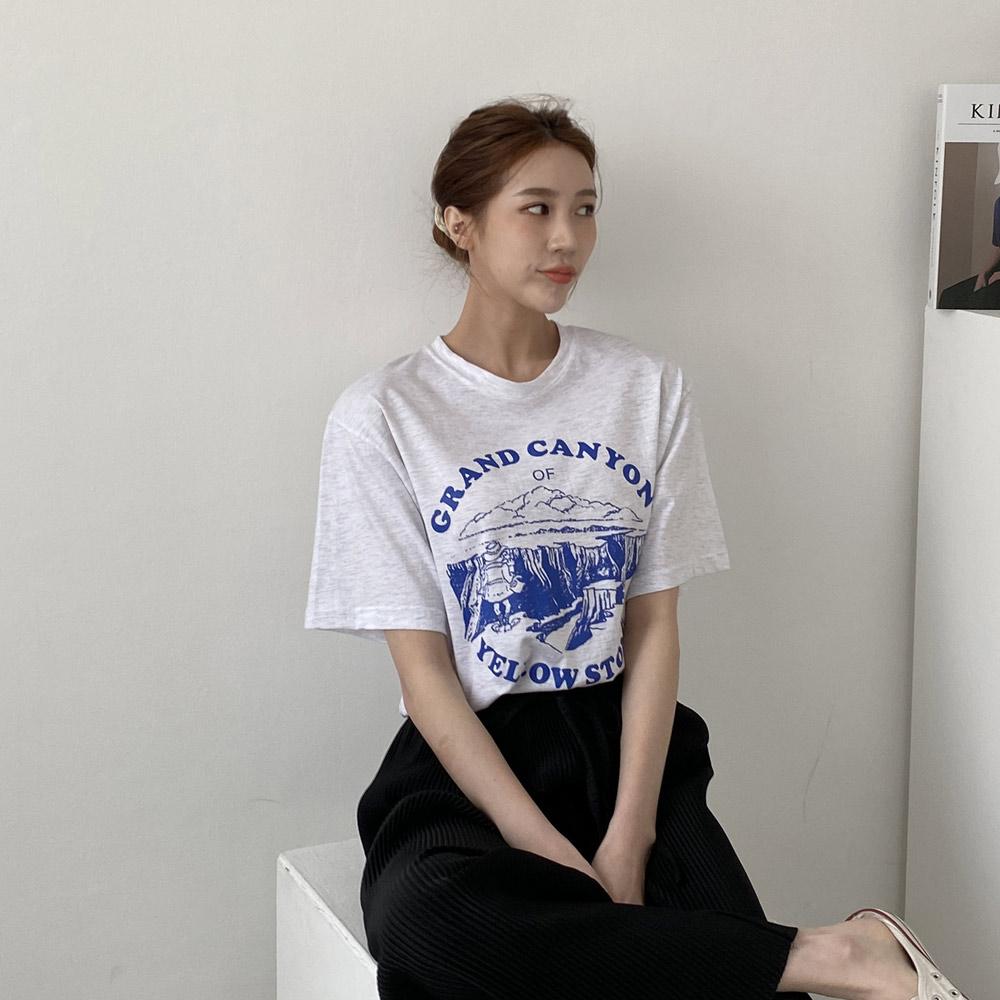 라니 기본 영문 레터링 프린팅 반팔 티셔츠