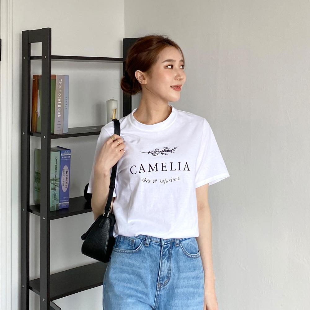 레리 여성 데일리 라운드 나염 티셔츠