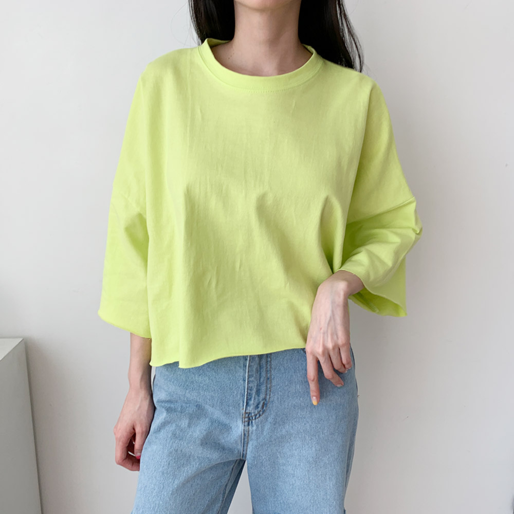 메로 반팔 여름 기본 크롭 티셔츠