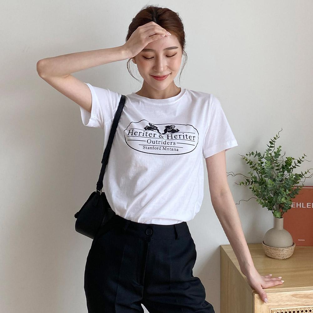 모아 레터링 반팔 영문 기본 티셔츠