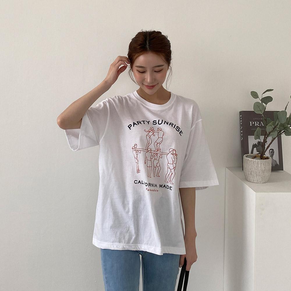 비모 포안트 프린팅 반팔 티셔츠