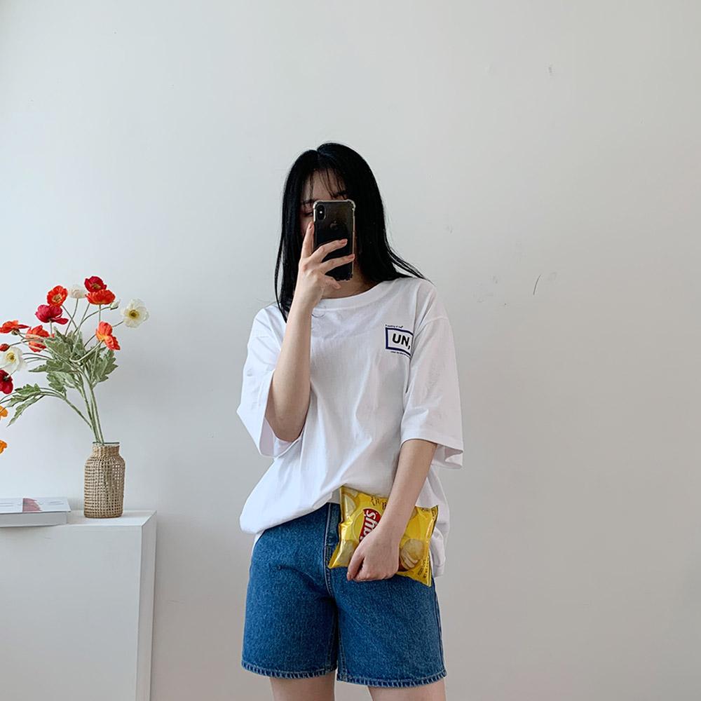 니르 반팔 레터링 여성 박스핏 티셔츠