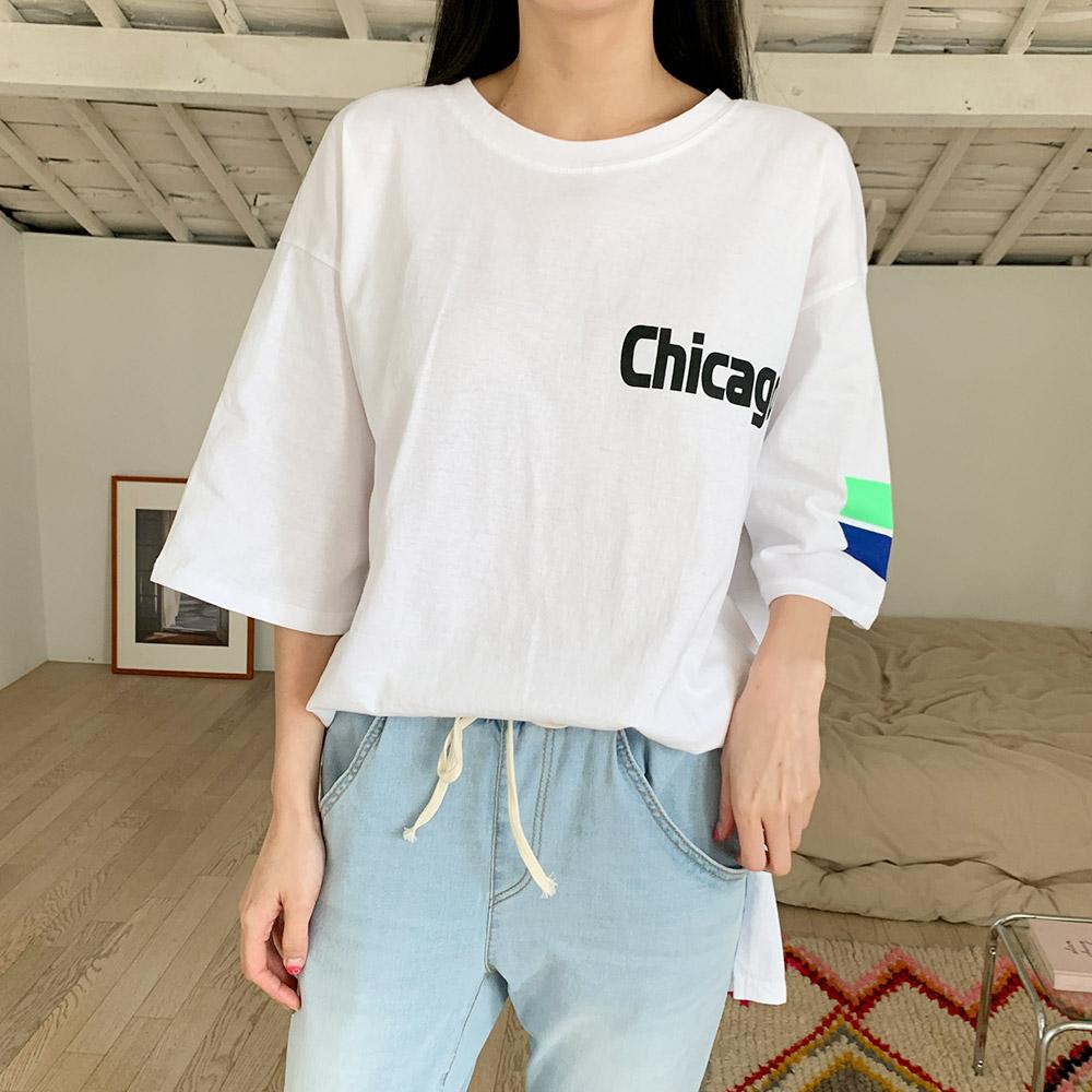 리크 여름 프린팅 반팔 티셔츠