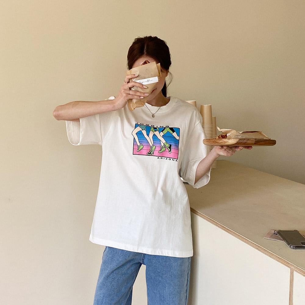 브키 여름 프린팅 반팔 티셔츠