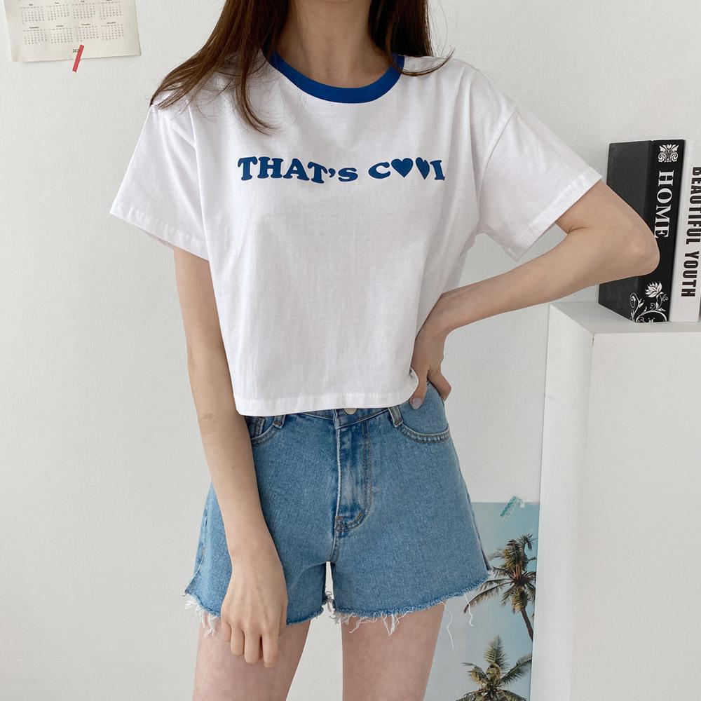 호아키 배색 크롭 반팔티셔츠