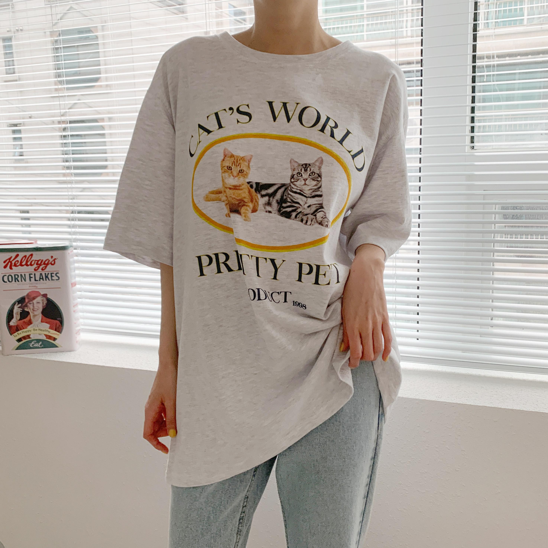 드리부 나염 라운드 티셔츠