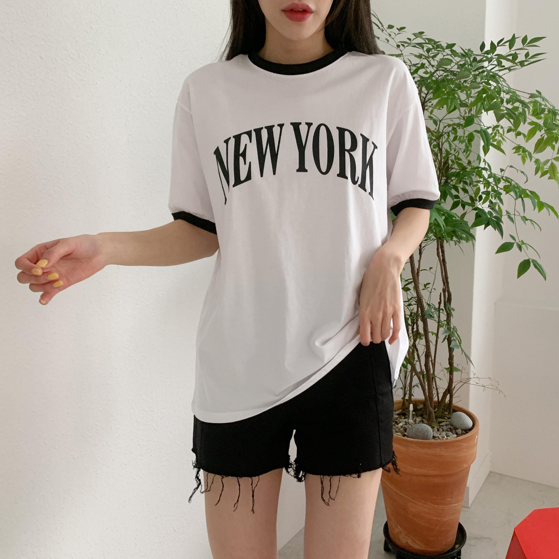 코도 여름 배색 프린팅 반팔 티셔츠