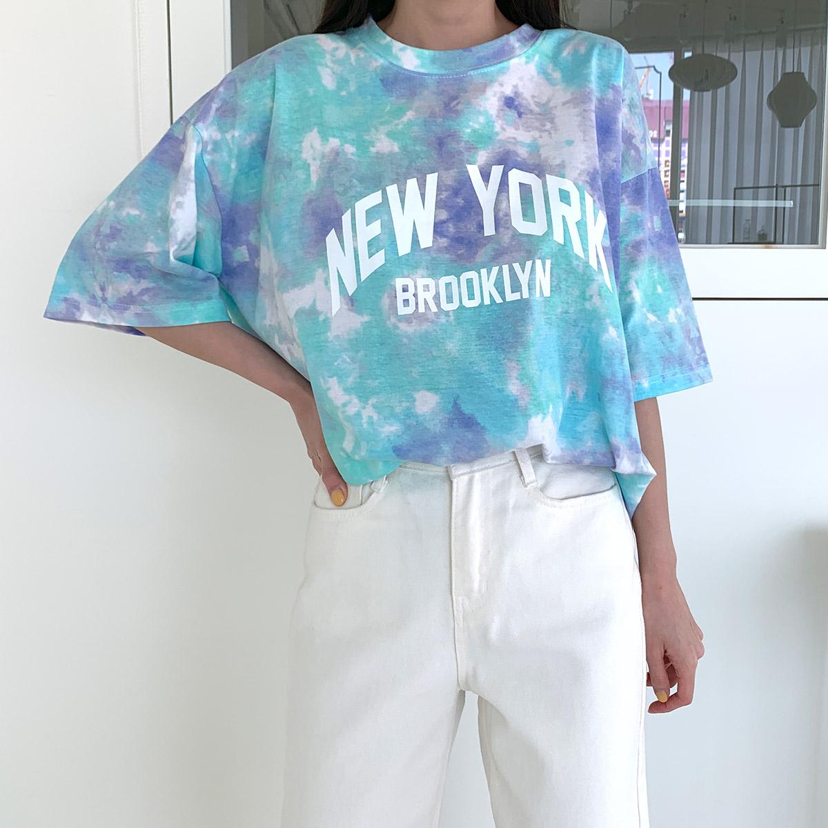 바즈키 뉴욕 물나염 박스 반팔 티셔츠